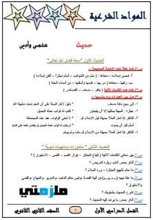 مراجعة القرآن والمواد الشرعية للصف الثاني الثانوي الازهري