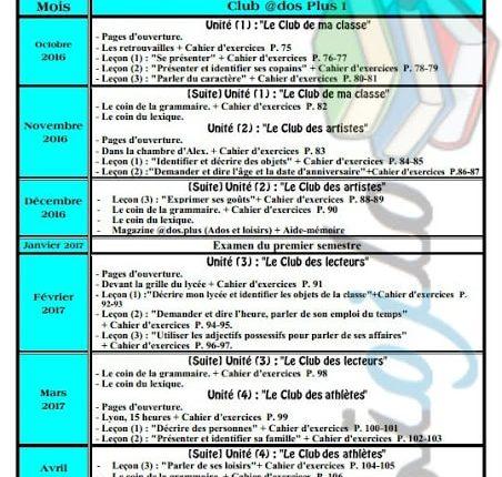 توزيع منهج اللغة الفرنسية للصف الأول الثانوي 2017