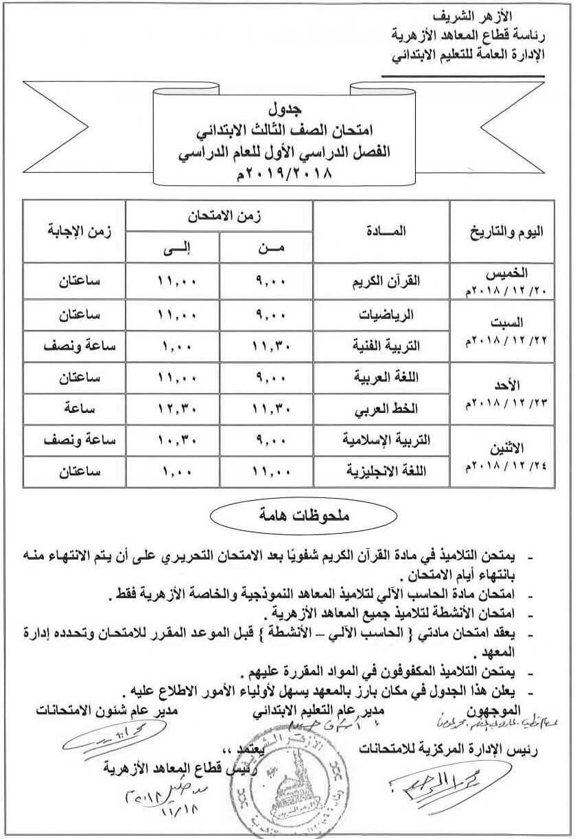 جدول امتحاناتالازهر الصف الثالث الإبتدائي 2018