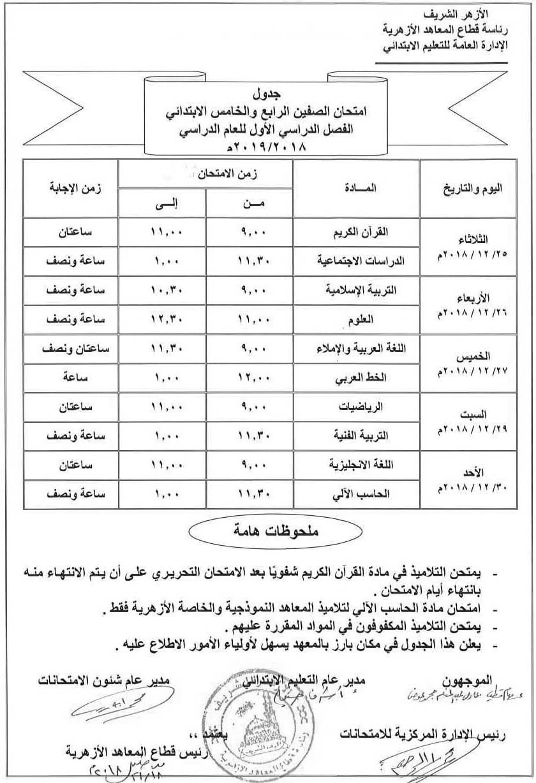جدول امتحانات الصف (الرابع - الخامس) الإبتدائي الأزهري 2018/2019