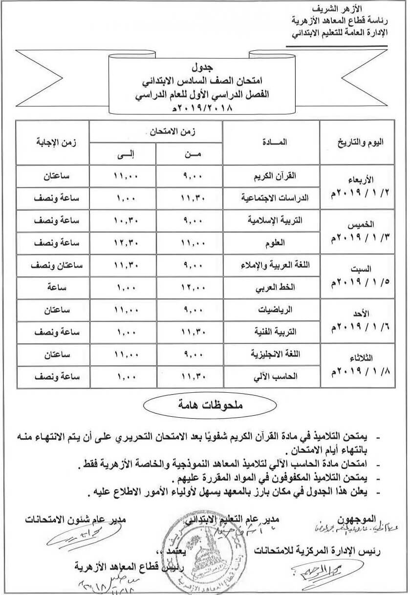 جدول امتحانات الشهادة الإبتدائية بالأزهر 2018