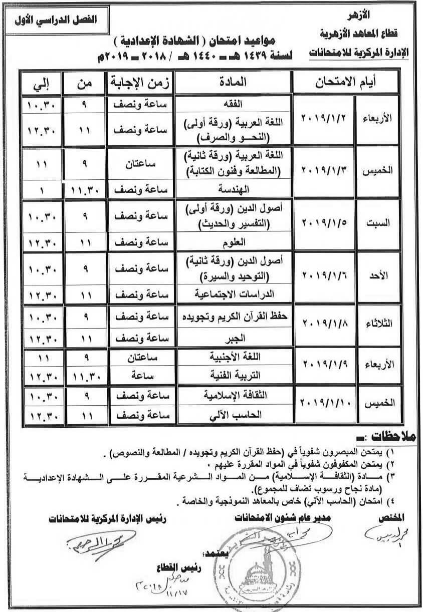 جدول امتحانات الشهادة الإعدادية الأزهرية 2018