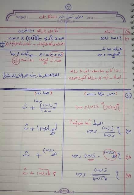 ملخص قوانين التكامل للصف الثالث الثانوى