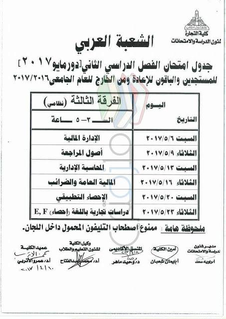 جدول امتحانات تجارة عين شمس 2017 الفرقة الثالثة انتظام