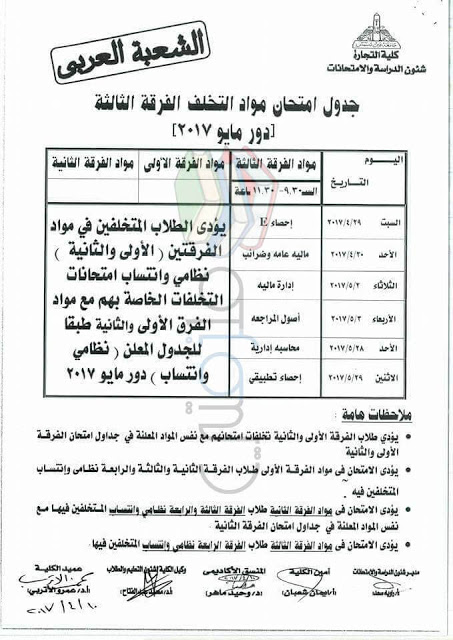 جدول امتحانات تجارة عين شمس 2017 مواد التخلف الفرقة الثالثة