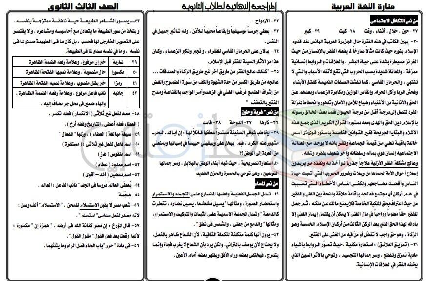 اجابات كتاب المدرسة لغة عربية للصف الثالث الثانوي