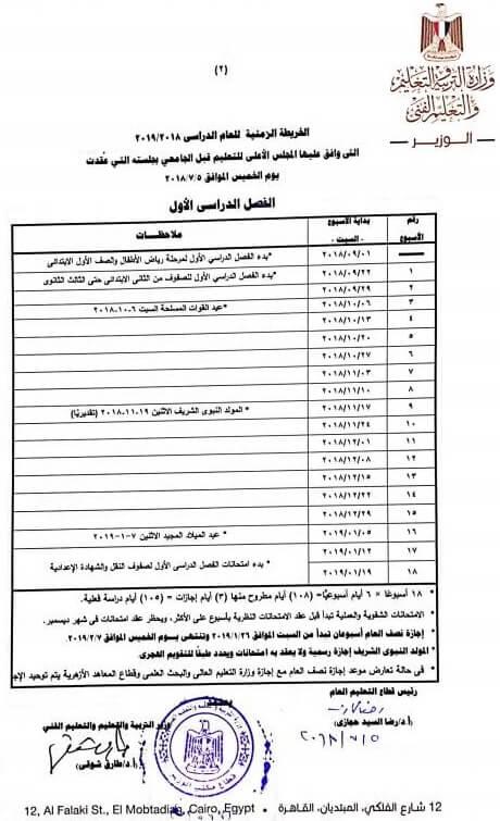 بداية العام الدراسي الجديد 2018/2019 في مصر