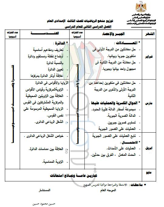 توزيع منهج رياضيات الصف الثالث الإعدادى الترم الثاني