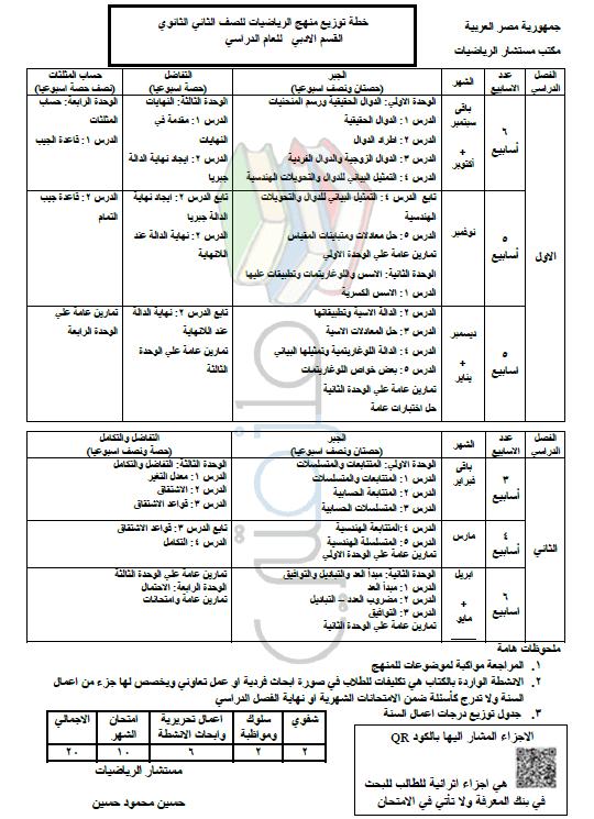 توزيع منهج الرياضيات للصف الثاني الثانوي القسم الأدبي