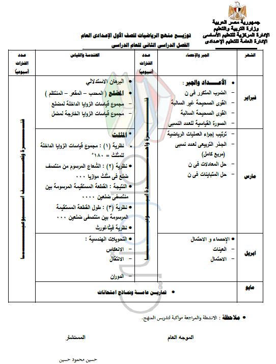 توزيع منهج الرياضيات للصف الأول الإعدادي الترم الثاني