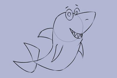 طريقة رسم سمكة قرش بالصور للأطفال