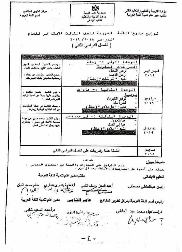 توزيع منهج اللغة العربية للصف الثالث الإبتدائى 2019