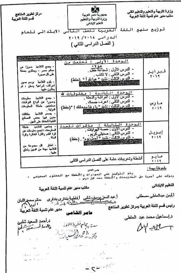 توزيع منهج اللغة العربية للصف الثاني الإبتدائى 2019