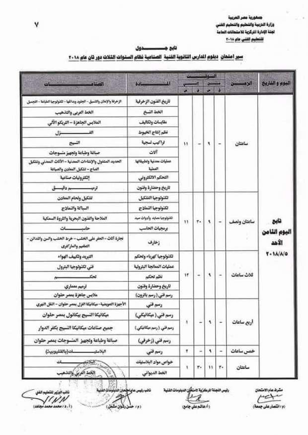 جدول امتحانات الدبلومات الفنية الدور الثاني