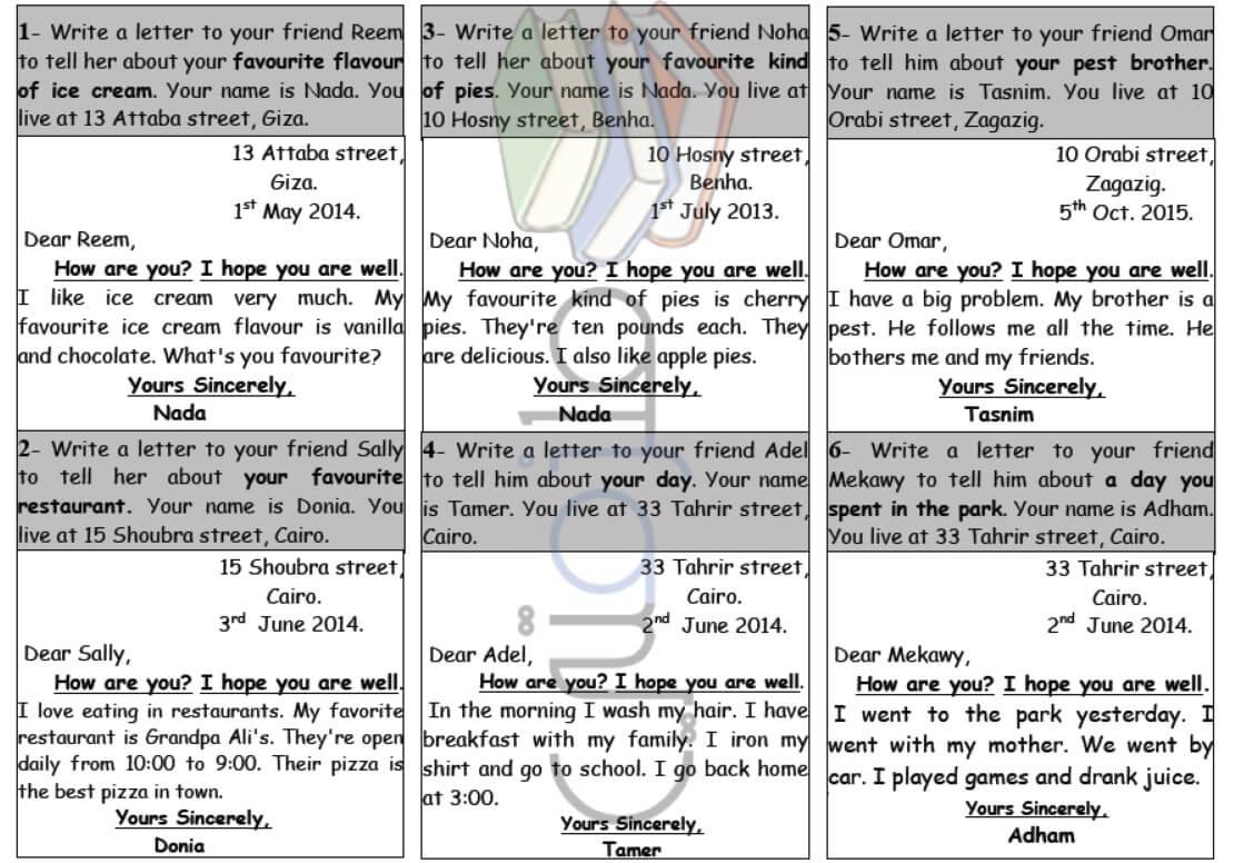 طريقة كتابة خطاب باللغة الإنجليزية للصف السادس الابتدائي