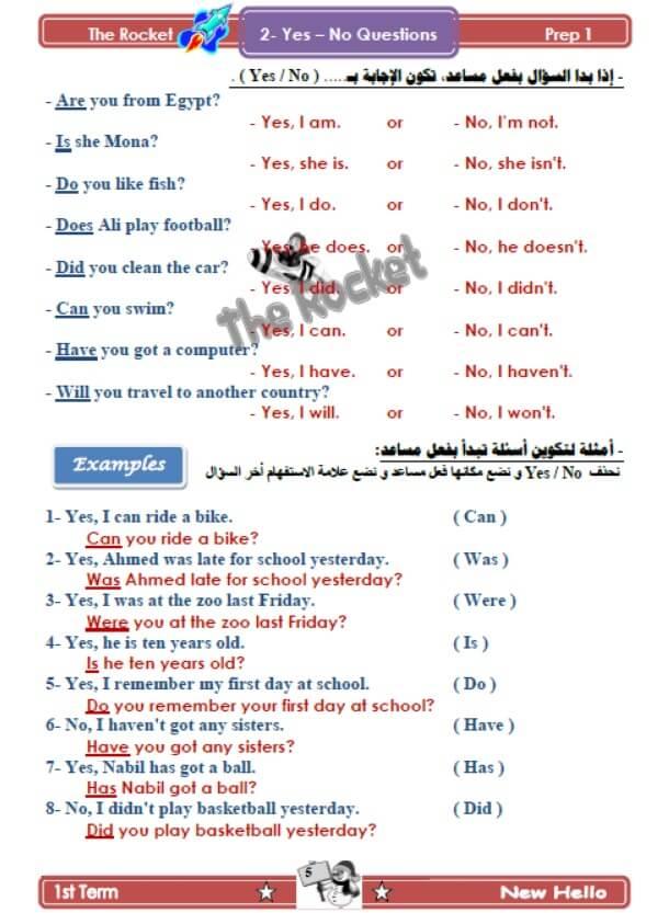 مذكرة انجليزي للصف الأول الإعدادي الترم الأول