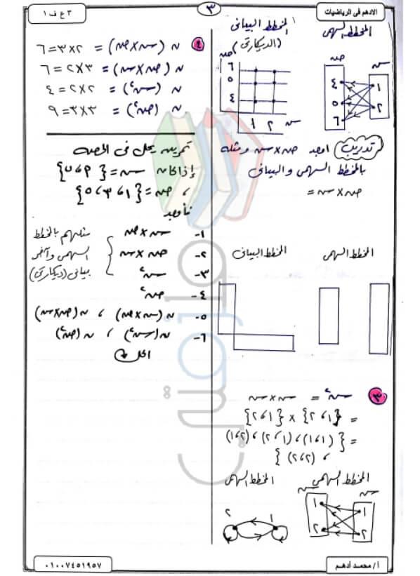 مذكرة جبر وهندسة للصف الثالث الإعدادي الترم الأول