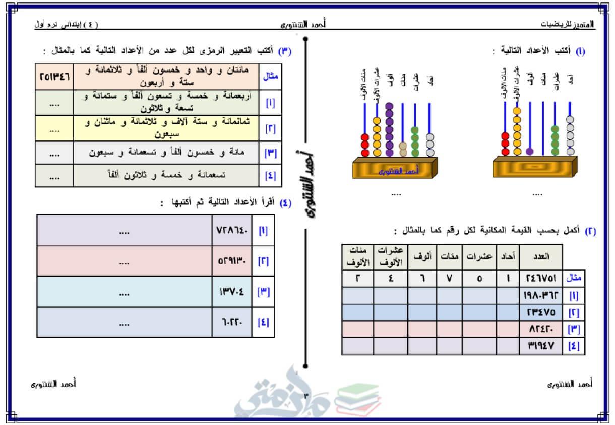 مذكرة رياضيات للصف الرابع الإبتدائي الترم الأول