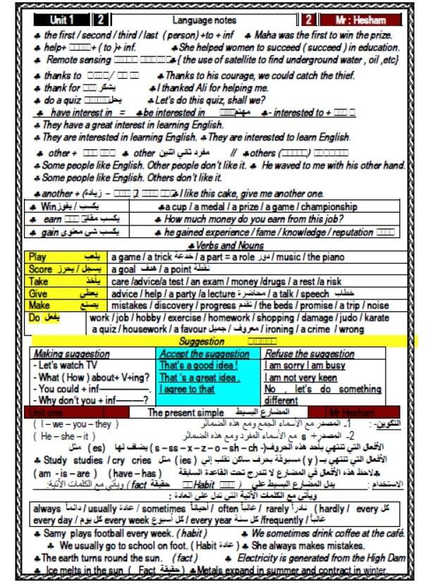 مذكرة لغة انجليزية للصف الاول الثانوي ترم اول