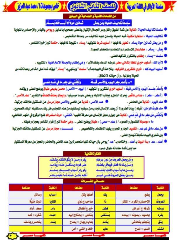 مذكرة لغة عربية للصف الثاني الثانوي ترم اول
