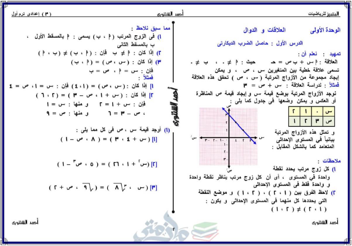 ملزمة رياضيات للصف الثالث الإعدادى الترم الأول