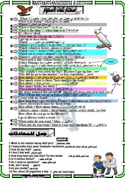 ملزمة لغة انجليزية للصف الثالث الاعدادي ترم اول