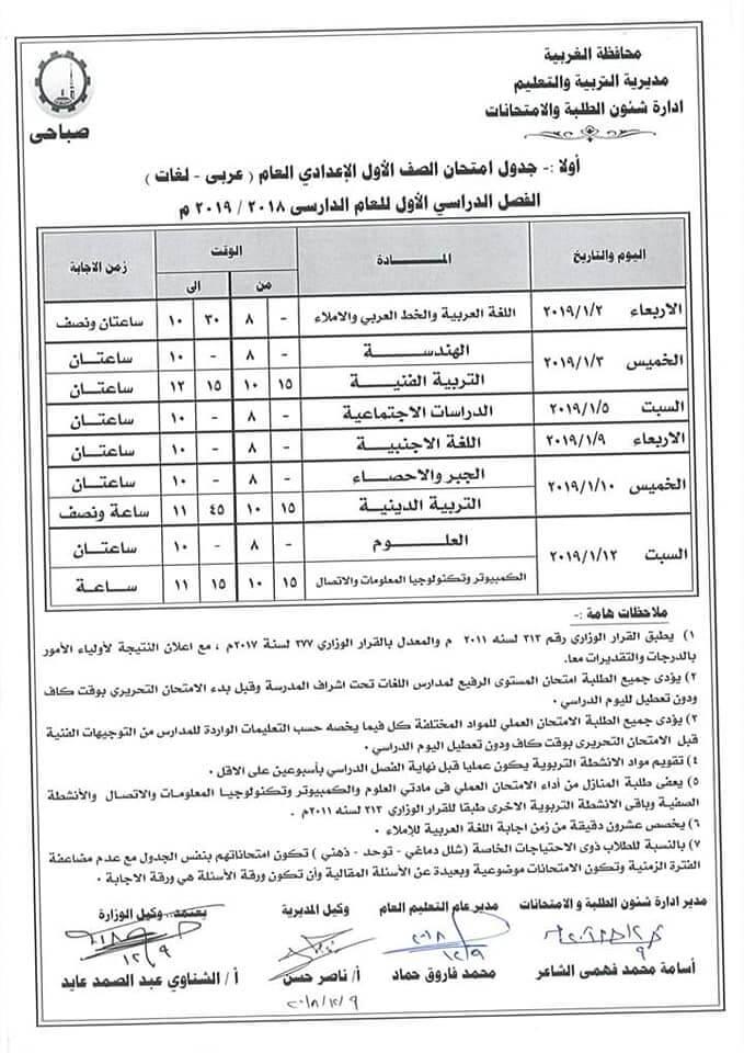 جدول امتحانات الصف الاول الاعدادي الترم الاول 2019 محافظة الغربية