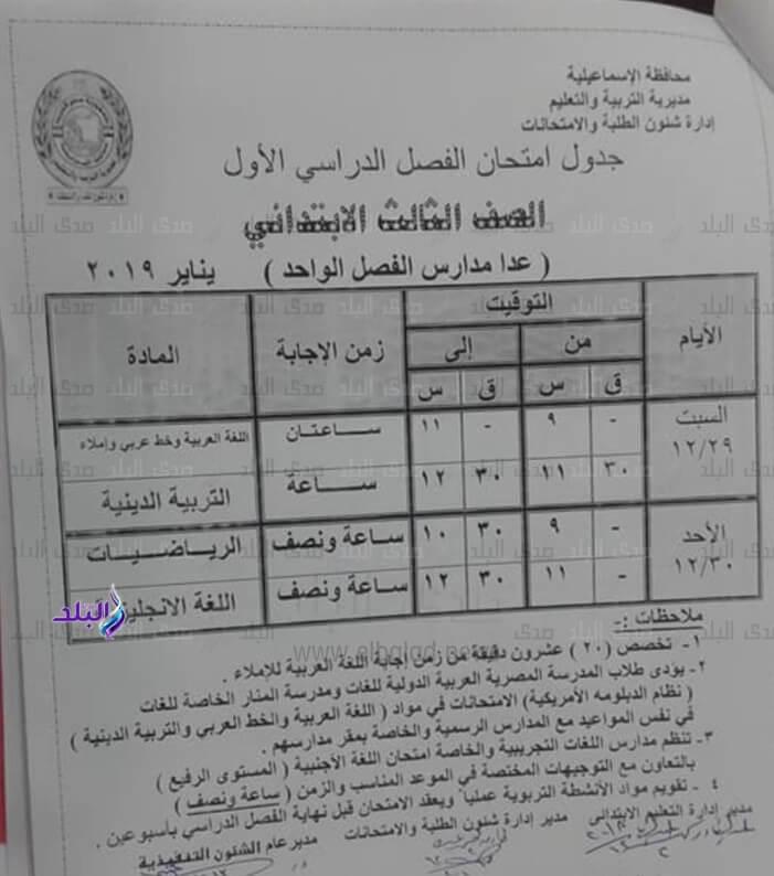 جدول امتحانات الصف الثالث الابتدائي الترم الاول 2019 محافظة الاسماعيلية
