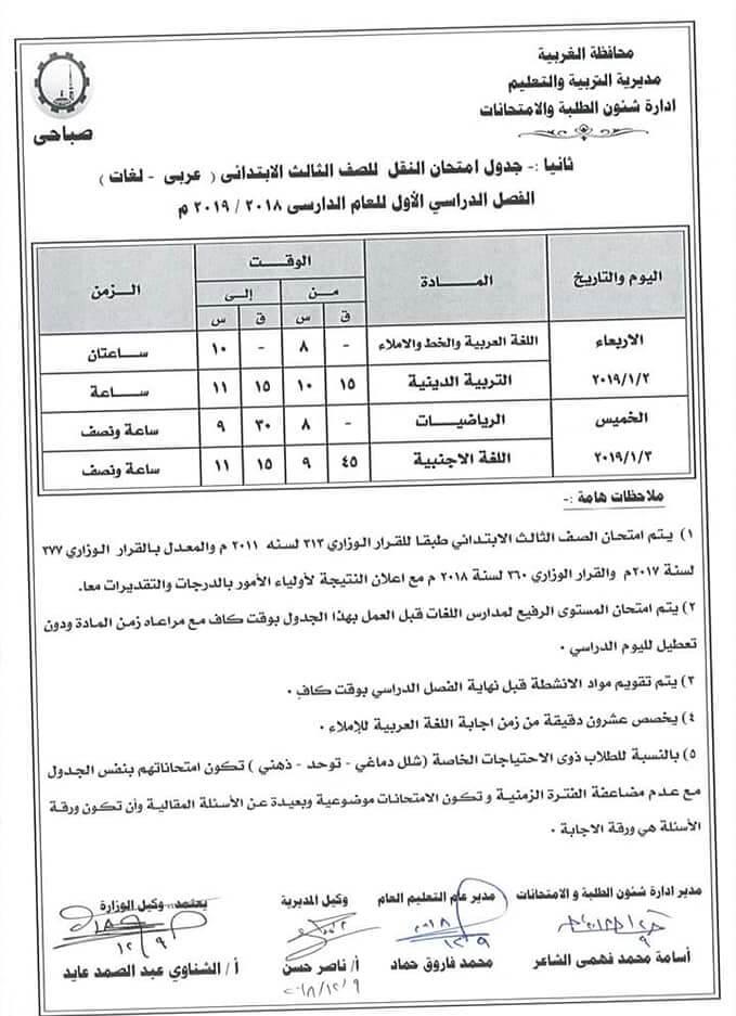 جدول امتحانات الصف الثالث الابتدائي الترم الاول 2019 محافظة الغربية