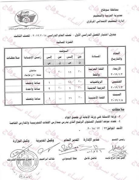 جدول امتحانات الصف الثالث الابتدائي الترم الاول 2019 محافظة سوهاج
