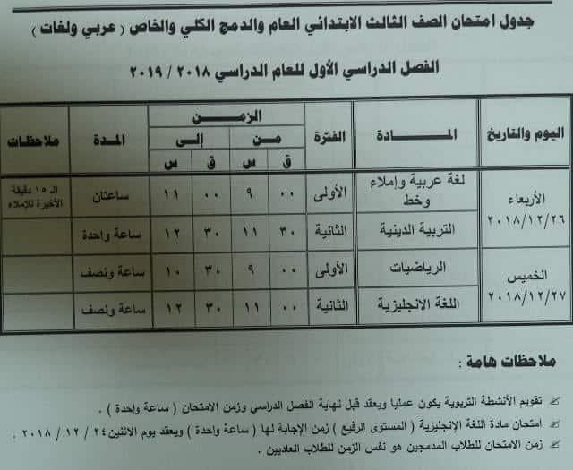 جدول امتحانات الصف الثالث الابتدائي الترم الاول 2019 محافظة مطروح
