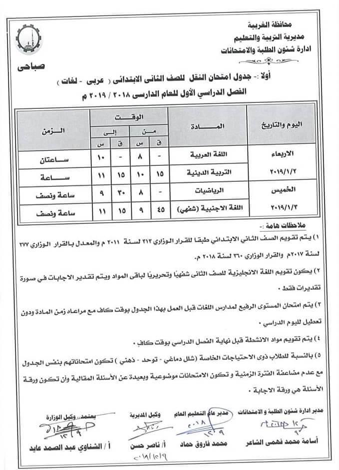 جدول امتحانات الصف الثاني الابتدائي الترم الاول 2019 محافظة الغربية