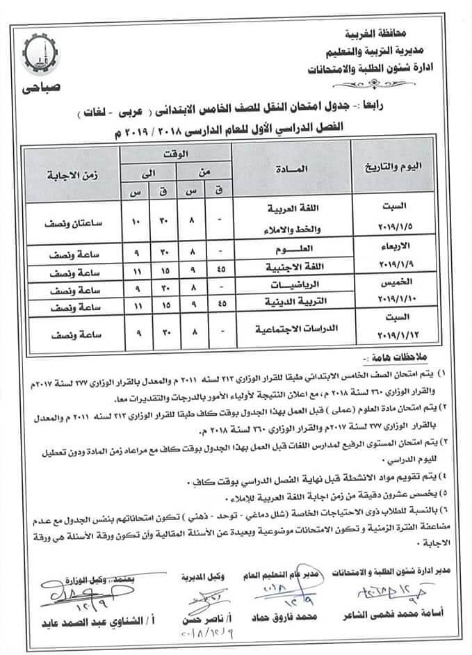 جدول امتحانات الصف الخامس الابتدائي الترم الاول 2019 محافظة الغربية