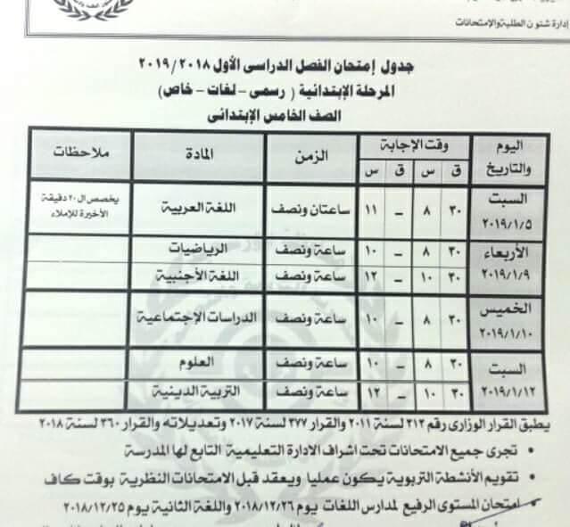 جدول امتحانات الصف الخامس الابتدائي الترم الاول 2019 محافظة بورسعيد