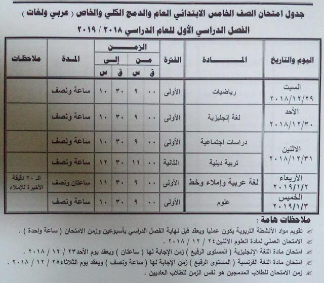 جدول امتحانات الصف الخامس الابتدائي الترم الاول 2019 محافظة مطروح