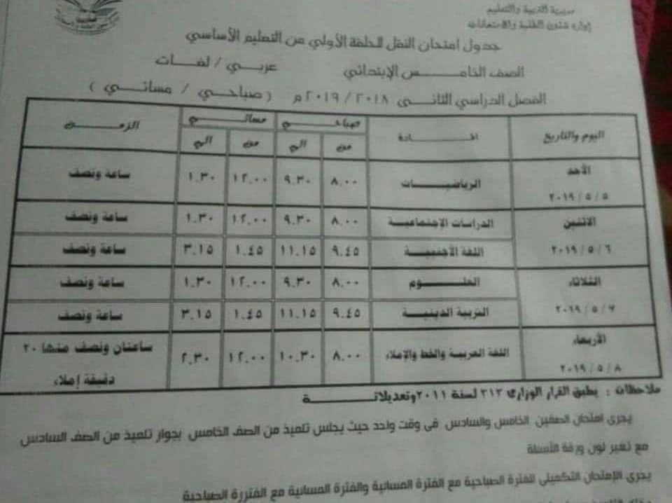 جدول امتحانات الصف الخامس الابتدائي الترم الثاني 2019 محافظة الدقهلية
