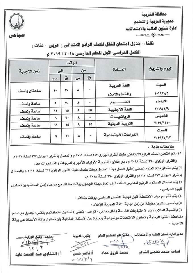 جدول امتحانات الصف الرابع الابتدائي الترم الاول 2019 محافظة الغربية
