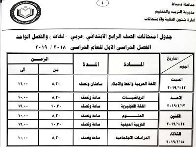 جدول امتحانات الصف الرابع الابتدائي الترم الاول 2019 محافظة دمياط