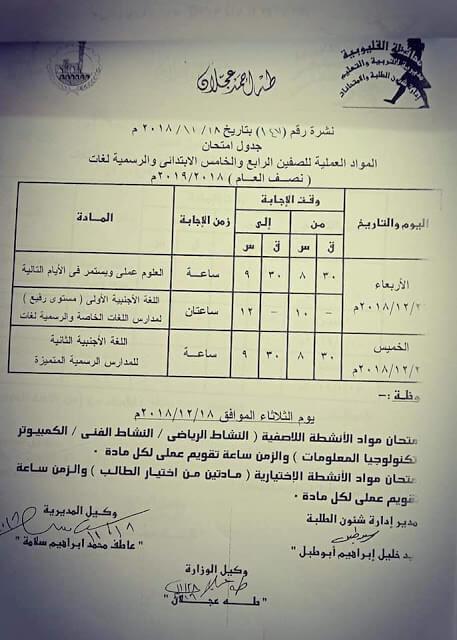 جدول امتحانات الصف الرابع والخامس الابتدائي الترم الاول 2019 محافظة القليوبية