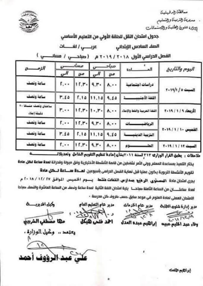 جدول امتحانات الصف السادس الابتدائي الترم الاول 2019 محافظة الدقهلية