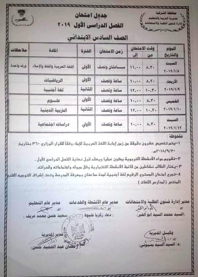 جدول امتحانات الصف السادس الابتدائي الترم الاول 2019 محافظة الشرقية