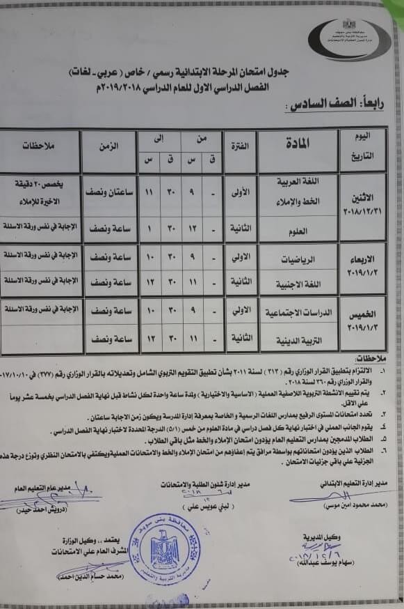 جدول امتحانات الصف السادس الابتدائي الترم الاول 2019 محافظة بني سويف
