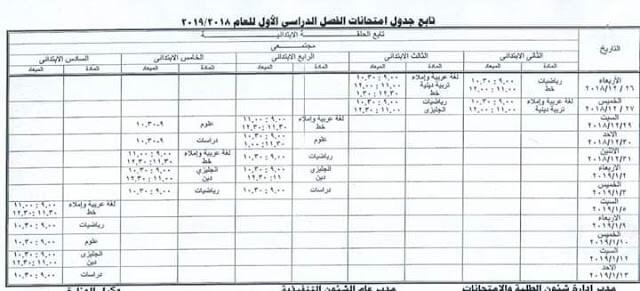 جدول امتحانات المرحلة الابتدائية الترم الاول 2019 محافظة مطروح