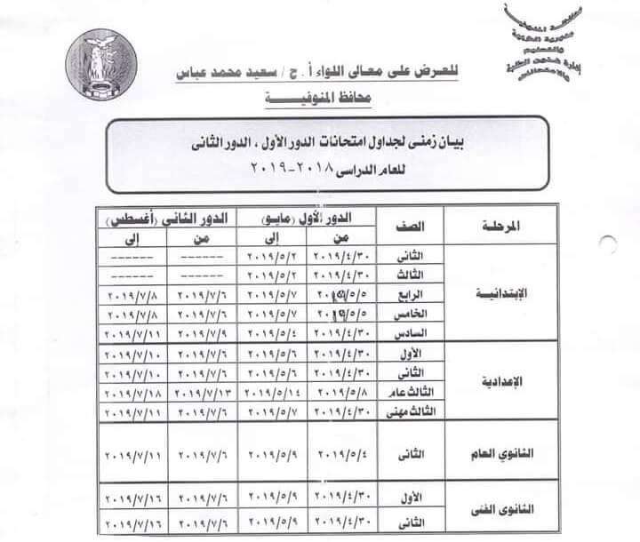 جدول امتحانات اخر العام 2019 محافظة المنوفية