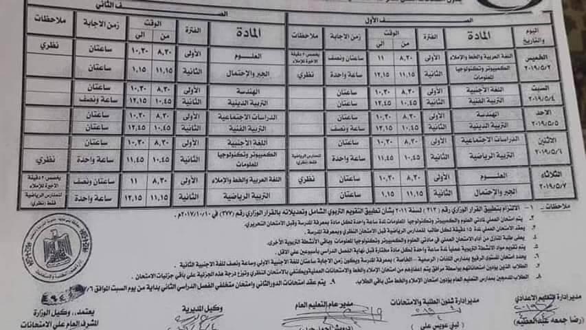 جدول امتحانات الصف الاول والثاني الاعدادي الترم الثاني 2019 محافظة بني سويف