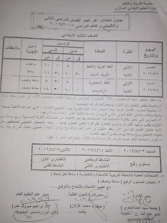 جدول امتحانات الصف الثالث الابتدائي الترم الثاني 2019 محافظة البحيرة