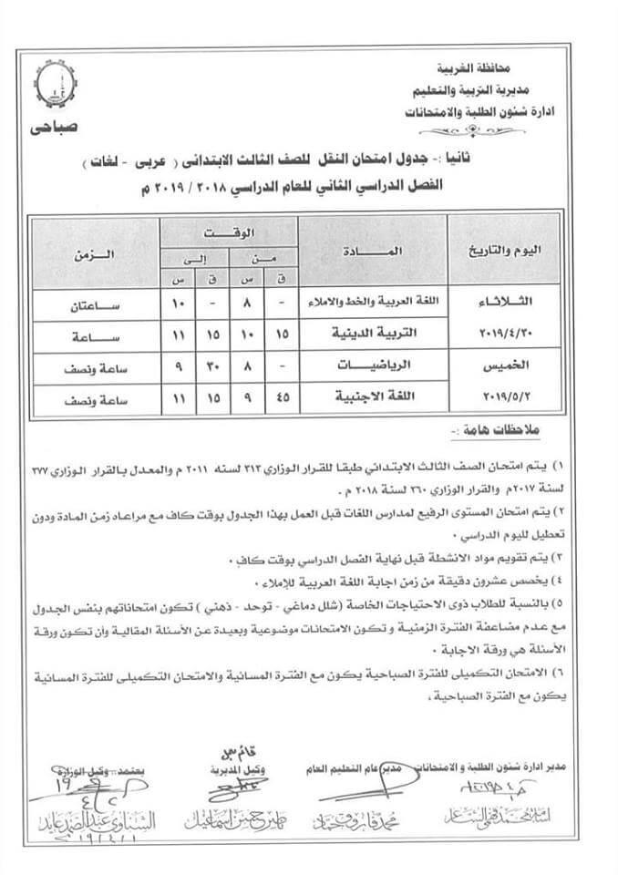 جدول امتحانات الصف الثالث الابتدائي الترم الثاني 2019 محافظة الغربية