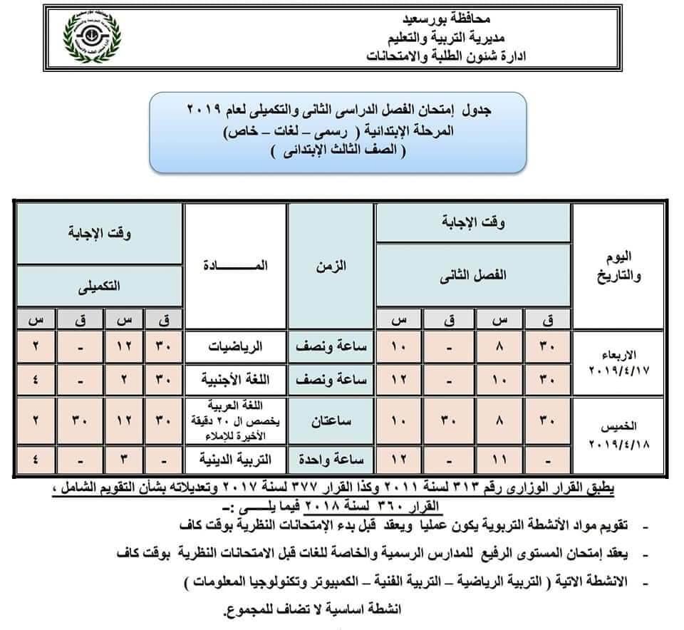 جدول امتحانات الصف الثالث الابتدائي الترم الثاني 2019 محافظة بورسعيد