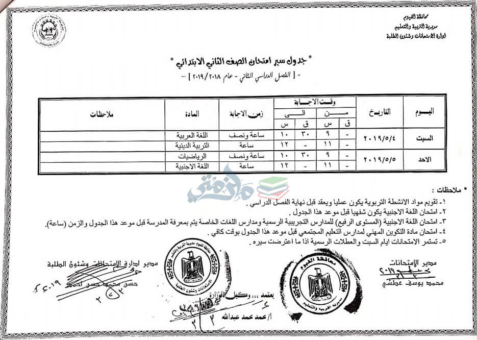 جدول امتحانات الصف الثاني الابتدائي الترم الثاني 2019 محافظة الفيوم
