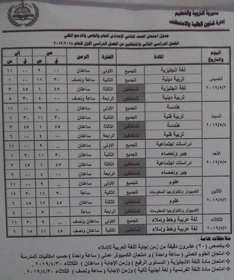 جدول امتحانات الصف الثاني الاعدادي الترم الثاني 2019 محافظة مطروح